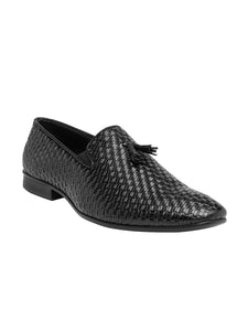 Treemoda Men Black Solid Formal Leather Slip-on Shoes