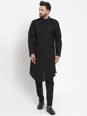 Designer Black Kurta and Pajama for men | Designer Full Sleeve Liner Linen Kurta and Aligarh Pajama Set For Men