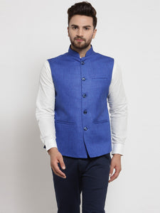 Men Blue Solid Nehru Jacket By Treemoda