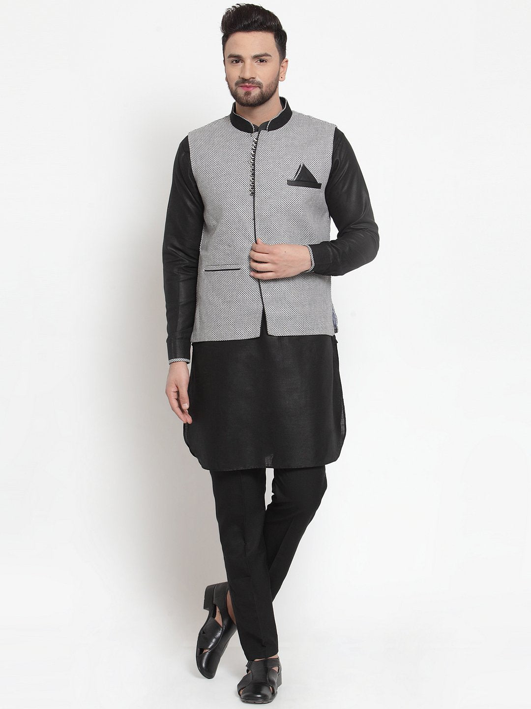 Treemoda Men's Black Kurta Matching Pants With Ethnic Nehru Jacket
