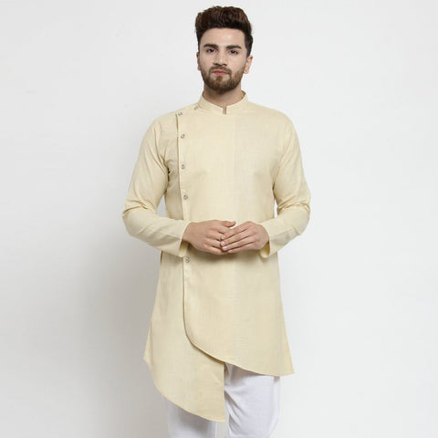 Designer Beige Linen Kurta  For Men By Visach