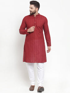 Maroon Cotton Chikankari Lucknowi Jaal Embroidered Kurta with Churidar Pajama