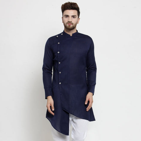 blue linen kurta for men