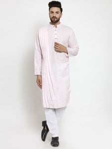 Designer Pink Linen Kurta With Aligarh Pajama For Men By Treemoda
