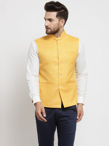 Men Yellow Solid Nehru Jacket By Treemoda