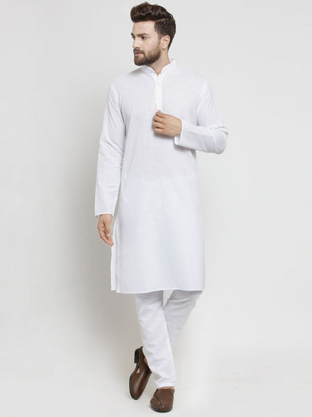 Plain Lenin Kurta With Aligarh Pajama Set In White