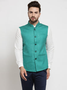 Men Green Solid Nehru Jacket By Treemoda