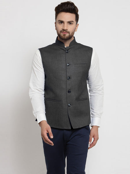 Men Grey Solid Nehru Jacket By Treemoda