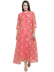 Women's Straight Long Kurti in Crepe Fabric By Treemoda