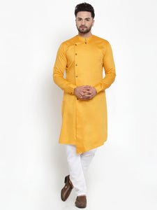 Designer Mustard Yellow Kurta With Churidar Pajama Set