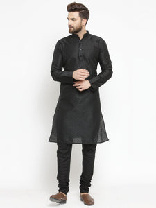 Embellished Brocade Kurta in Black with Churidar by Treemoda