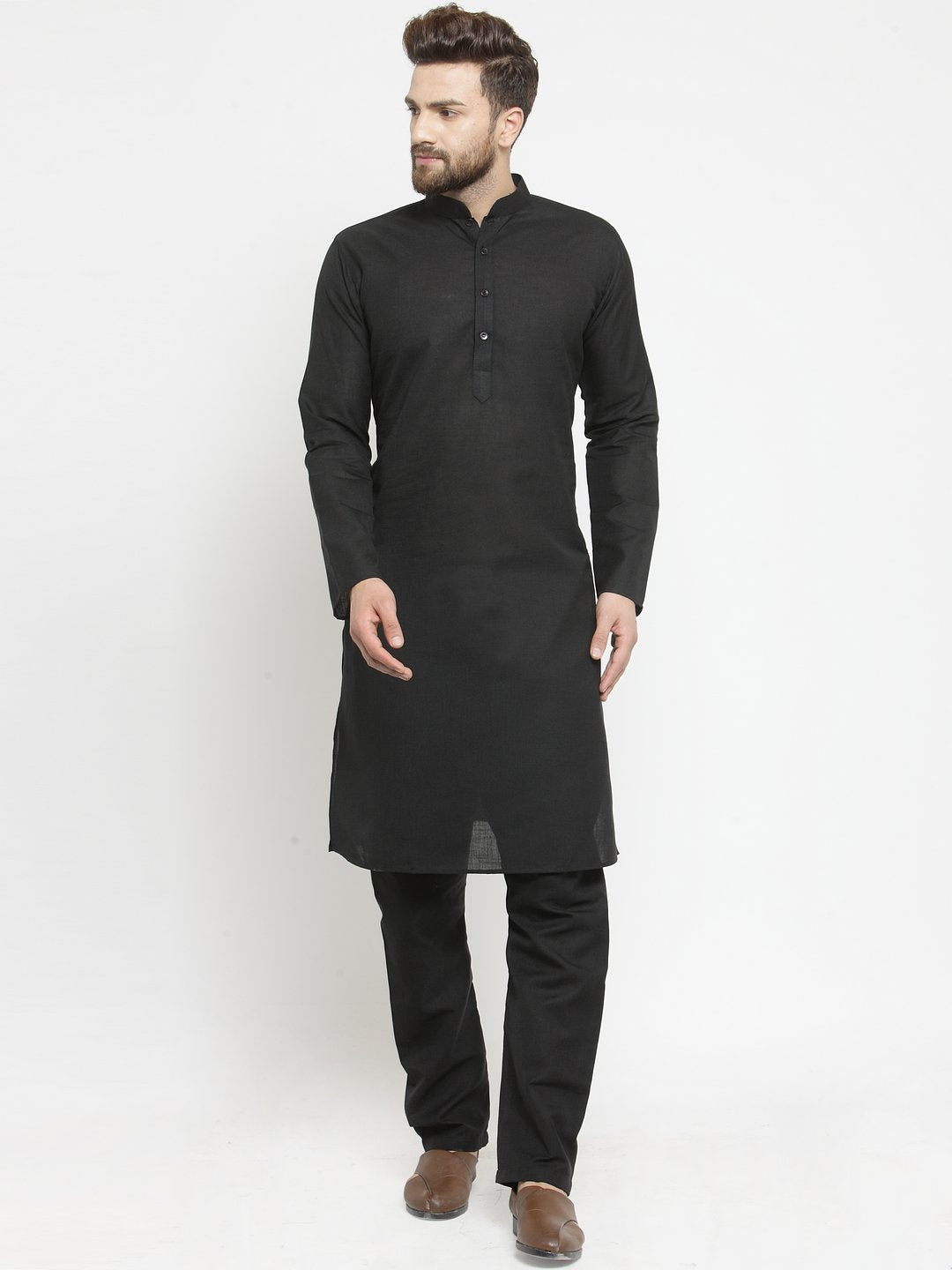 Plain Linen Kurta With Black Aligarh Pajama Set in Black
