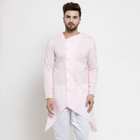pink linen kurta for men
