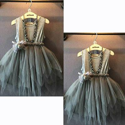 2019 Girls Clothes Kids Vintage Gray Sleeveless Tulle Dress Kids Party Dress 2-7