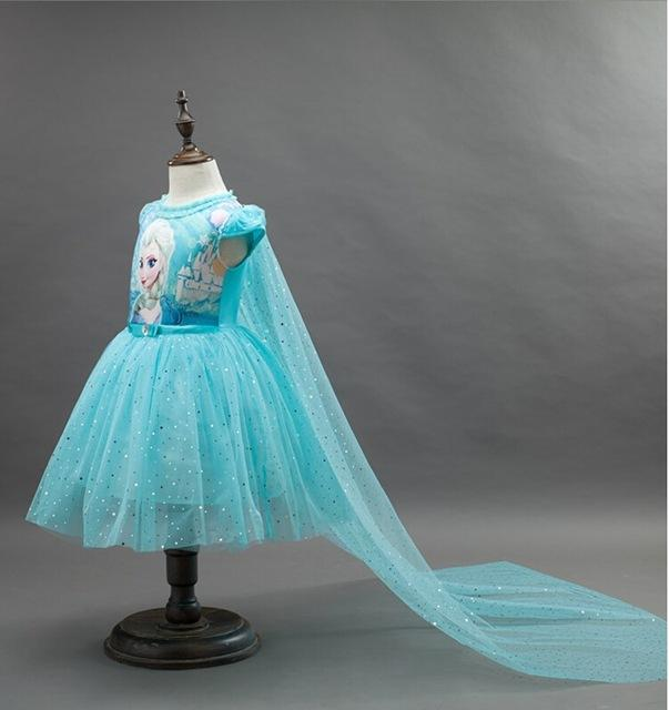 2016 New Anna Elsa Dress Kids Princess Party Costume Cosplay Snow Queen Fantasy Baby Girls Dresses + Cape Vestido infantil
