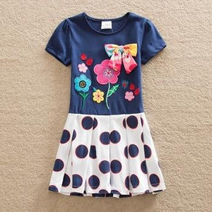 New BABY Girl Clothes short Sleeve Girls Dress Bow Kids pretty  Dresses A-line children clothing new style