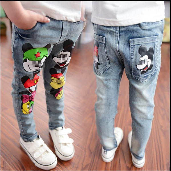 2019 Spring Summer Baby Jeans Printing Mouse Head Girls Pants Boys Trousers Long Denim Children Clothes Lovely Clothing