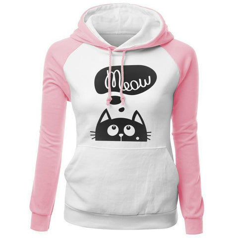 2018 Autumn Winter New Hoodies For Women Sweatshirt CAT MEOW Print Fashion Hoody
