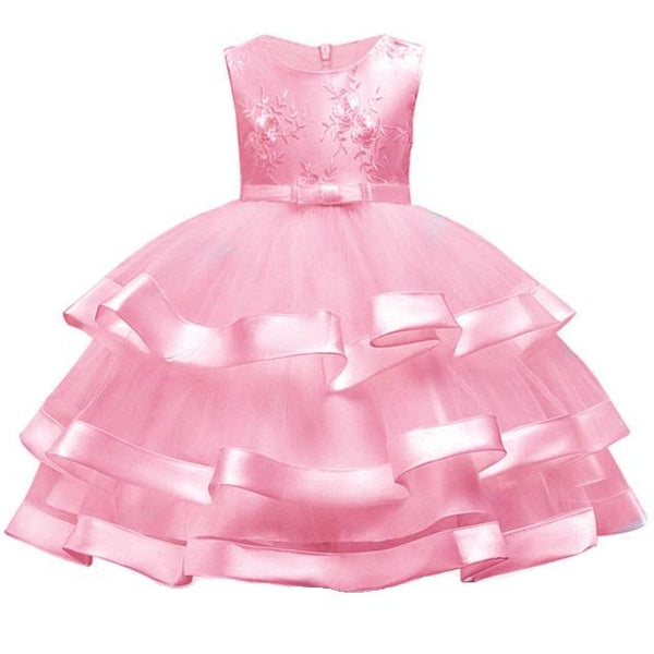 2018 Elegant Pearl Cake dress Princess Girls Wedding Party Dress For Wedding Flower Girl Dress Children Clothes Ceremonies Dress