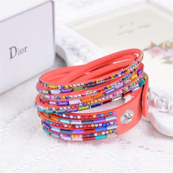 Trendy Multilayer Rivet Stud Colourful Cuff Bracelet For Women's
