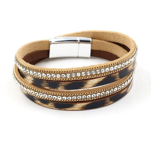 New Punk Fashionable Charm Leather Cuff Bracelet For Women's