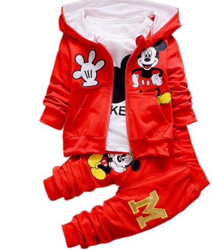 Infant Boys Girls Spring Autumn Cartoon Minnie Mickey Clothing Sets Children Kids  Long Sleeve Blouse Shirt Pants Suit
