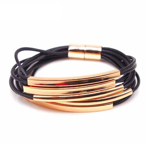 New Multi Layers Gold Handmade Leather Bracelet For Women's