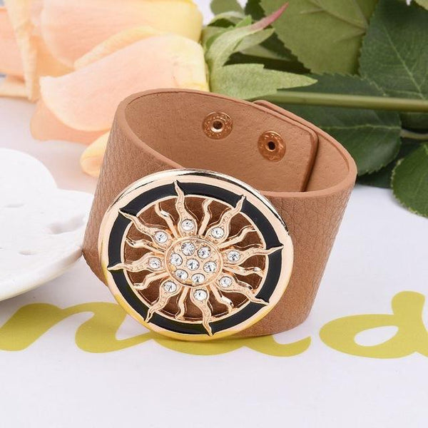 New Fashion Leather Wide Circle Buckle Adjustable Wrap Bracelet For Women