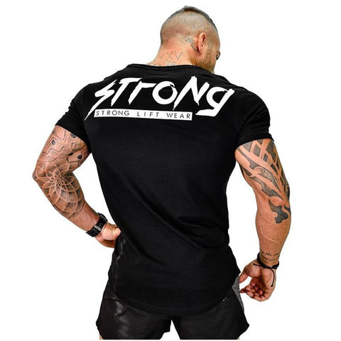 New Mens Cotton Short sleeve T-shirt Workout Fitness bodybuilding shirts Muscular male Brand Fashion casual Slim tee tops