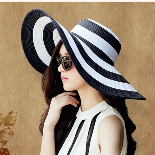 New Summer Female Sun Hats Visor Hat Big Brim Classic Black White Striped Straw Hat Casual Outdoor Beach Caps For Women