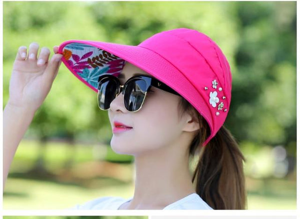 New simple women summer beach Sun Hats pearl packable sun visor hat with big heads wide brim UV protection female cap