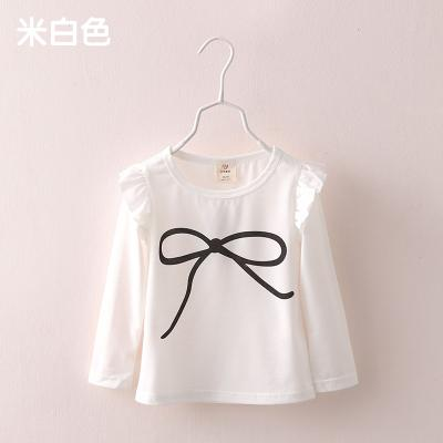 Spring Autumn 2-10 Years Old Baby Children's Clothing Long Puff Sleeve Kids Candy Color Sweet Basic T Shirts For Baby Girl