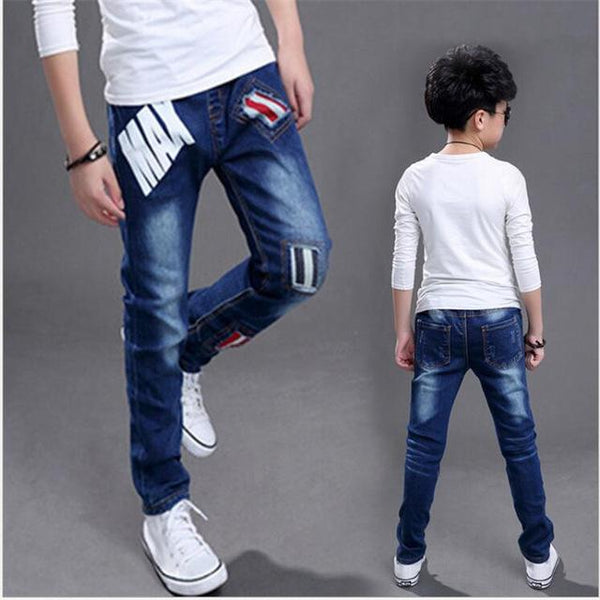 2018 boy jeans Autumn new Cotton bullet in children's trousers children's clothing Casual pants
