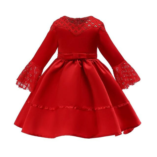 2019 Kids Dress for Girls 4 6 8 to 10 Years Flower Red Green Princess Costume Children Girls Clothes Kids Party Vestidos B42A16A