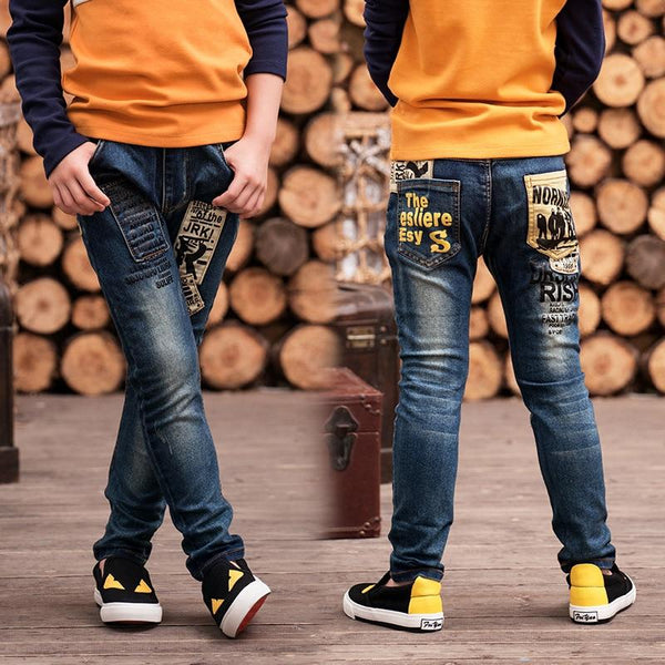 2019 New Boy's jeans year boys pants fit for Spring and autumn baby boys jeans children trousers, Kids Dark Blue Pants 2-14 age