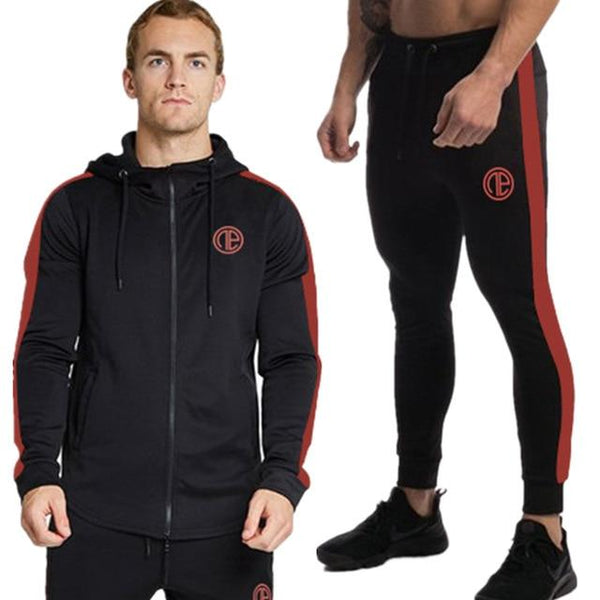 2019 Spring New Men Hoodies Pants 2Pcs/Sets Sweatshirt Sweatpants Male Gyms Fitness Tops Trousers Joggers Sportswear Tracksuits