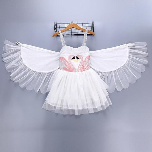 2019 Summer Fashion Girls Kids Party Dresses For Baby Girl Teen Princess Wedding Birthday Dress With Wings Children's Clothes