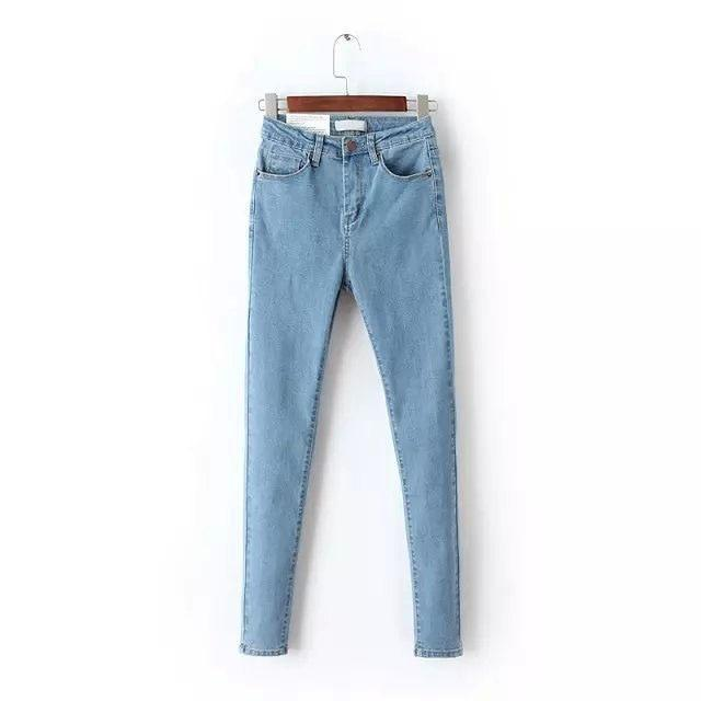 2019 Vintage Mom Fit High Waist Jeans Elastic Femme Women Washed Blue Denim Skinny Jeans Classic Pencil Pants