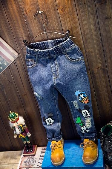 2019 autumn children cartoon patterns all-match fashion jeans boys and girls print trousers