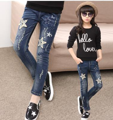 2019 autumn children's clothes girls jeans casual slim thin denim baby girl jeans for girls big kids jeans long trousers