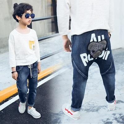 2019 spring and autumn new boy jeans pants children's casual PP embroidery dog head harem pants
