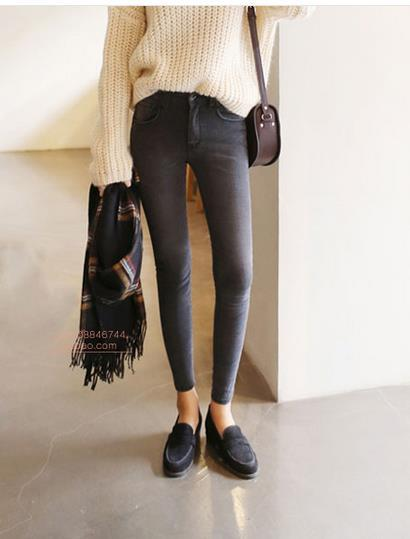 2019 thin waist jeans nine Korean female grey legging feet pencil jeans