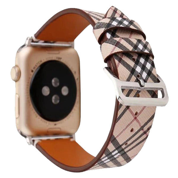 Leather Check Watch Band Loop for Apple Watch iwatch 38MM 42mm Series 1 2 3