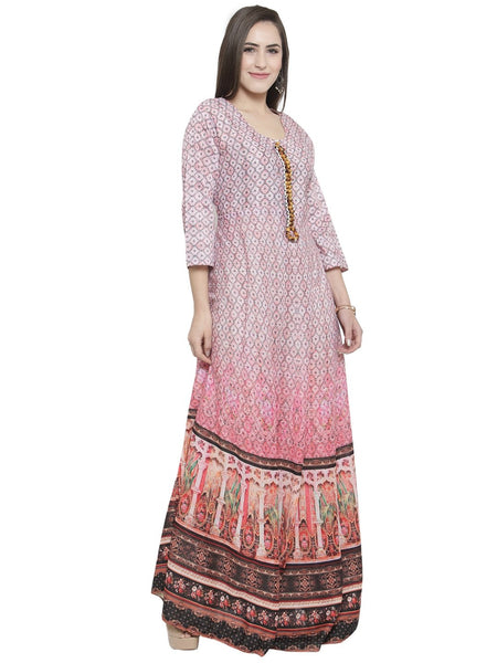 Designer silk long indo-western gown With floral pattern By Treemoda