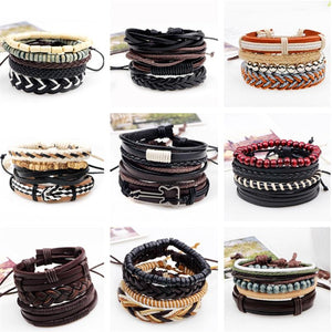 Punk Beige Cord Wrap Black Brown Leather Bracelet With Wooden Beads For Men