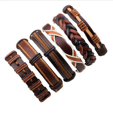 Leather Rope Weave Bracelet With Classic Wax Line For Men's