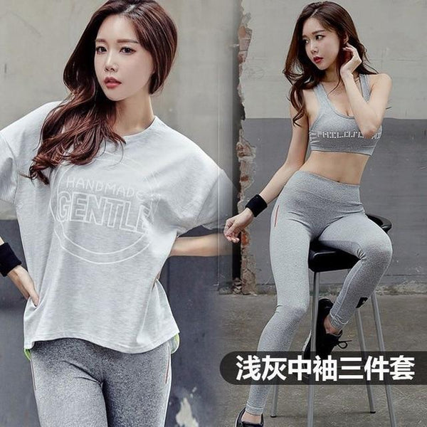 3 pice Set Women's Yoga Suit Fitness Clothing Sportswear Grey Shirt Bra Pant Workout Sports Clothes Athletic Running Yoga Sets