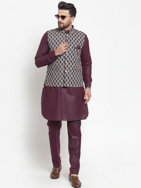 Treemoda Men's Mauve Kurta Matching Pants With Ethnic Nehru Jacket