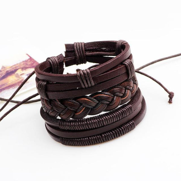 New Dark Brown Patterned Charm Layers Leather Bracelets Set for Men's And  Women's