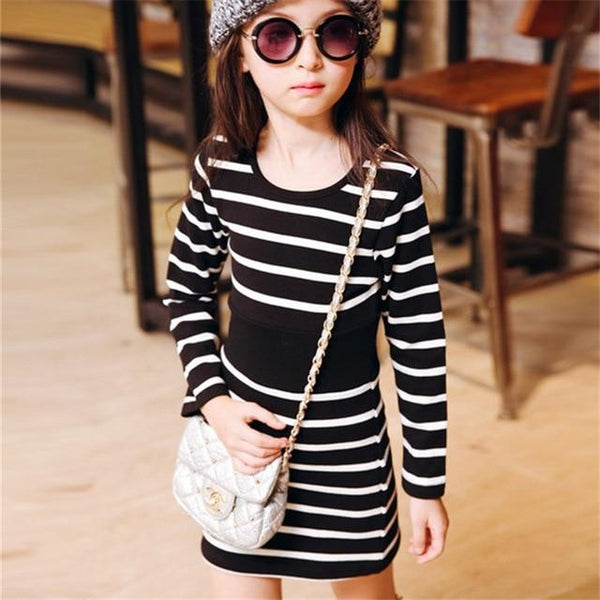 4-13Y Casual Girls Dress Kids Summer O-Neck Striped Children Clothing Party Birthday Dresses For Girls Infant Vestidos Toddler
